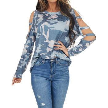 Gray Camo Long Sleeve Shirt with Slits