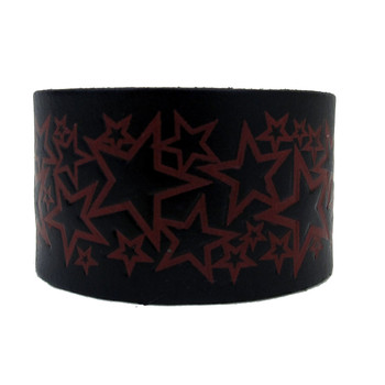 Black Genuine Leather Cuff Bracelet with Embossed Red Stars