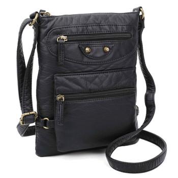 Black Vegan Leather Crossbody Bag front view