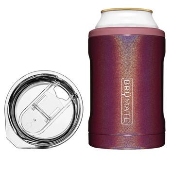 BruMate Hopsulator Duo 2-In-1 Can Cooler Tumbler Glitter Merlot