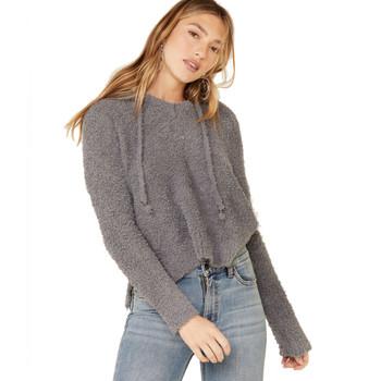Grey Berber Fleece Long Sleeve Hooded Top