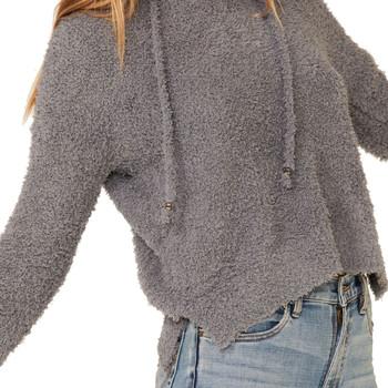 Grey Berber Fleece Long Sleeve Hooded Top front view