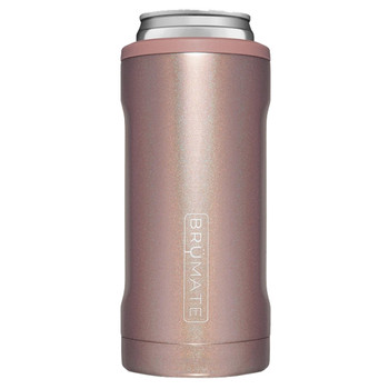 BruMate Hopsulator Slim Can Cooler Glitter Rose Gold