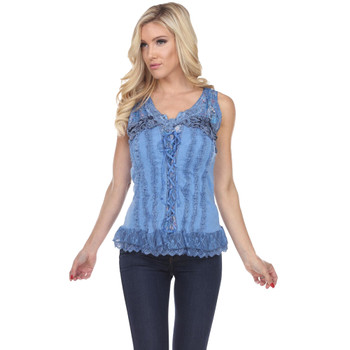 Blue Corset Style Lace Up Tank Top