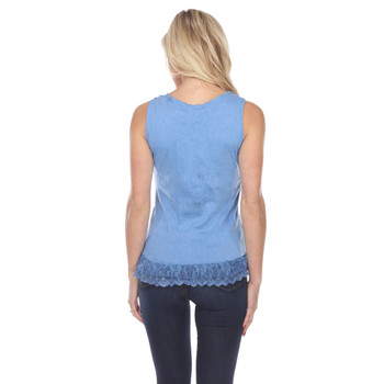 Blue Corset Style Lace Up Tank Top back view