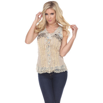 Creme Corset Style Lace Up Tank Top