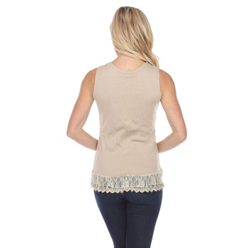 Creme Corset Style Lace Up Tank Top  back view