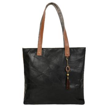 Genuine Leather Black Tote Bag Purse