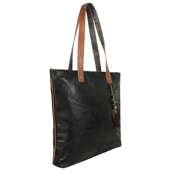 Genuine Leather Black Tote Bag Purse front view