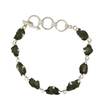 Sterling silver Moldavite bracelet.