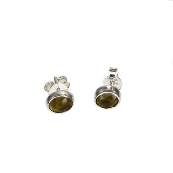 Green Moldavite sterling silver stud earrings.