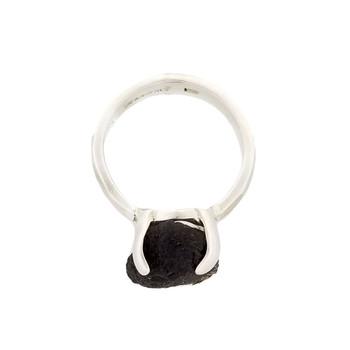 Sideview of sterling silver Moldavite ring.