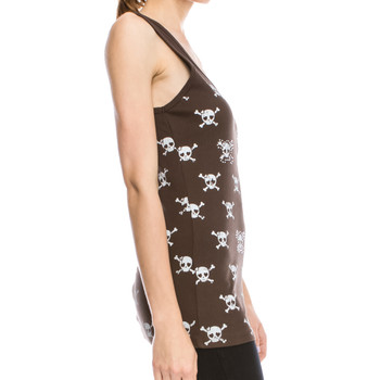 Vocal Apparel Girly Skull Brown Tank Top side view
