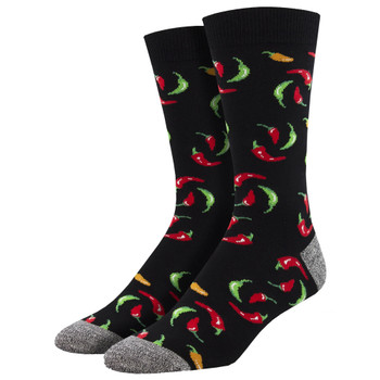 Hot On Your Heels Chili Peppers Men's Bamboo Crew Socks