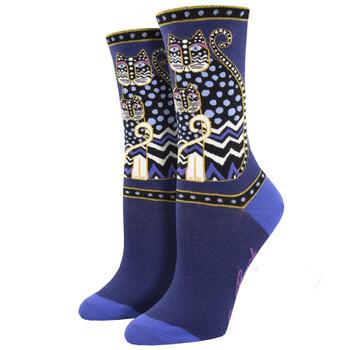 Laurel Burch Polka Dot Cats Women's Crew Socks