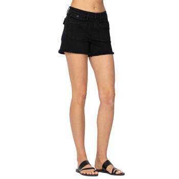 Judy Blue Black Cargo Patch Pocket Shorts front view