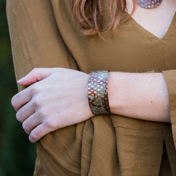 Copper and Teal Rivets Cuff Bracelet model view