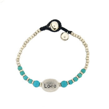 Silver alloy Love bead and blue turquoise Howlite bracelet.