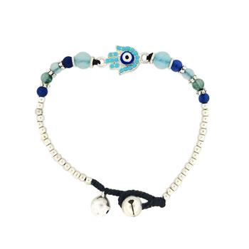 Hamsa alloy silver bracelet.