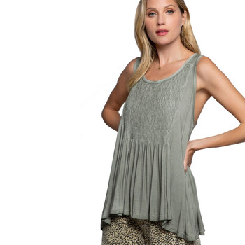 Olive Green Babydoll Tank Top