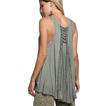 Olive Green Babydoll Tank Top back view