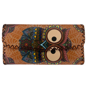 Colorful Bohemian Owl Leatherette Wallet