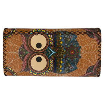 Colorful Bohemian Owl Leatherette Wallet back view