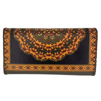 Tribal Mandala Printed Leatherette Wallet back view