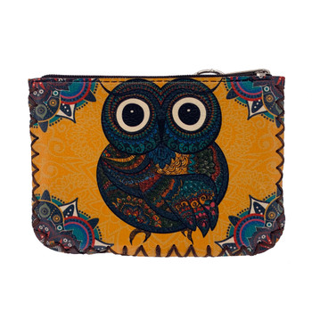 Bohemian Owl Leatherette Coin Purse back view