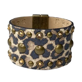 Leopard Print Studded Italian Leather Cuff