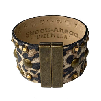 Leopard Print Studded Italian Leather Cuff back view