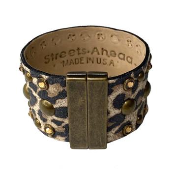 Leopard Print Studded Italian Leather Cuff back view