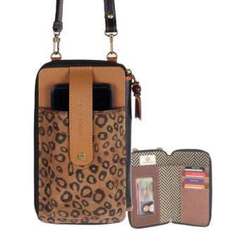 Cheetah Print Cellphone Crossbody Wallet