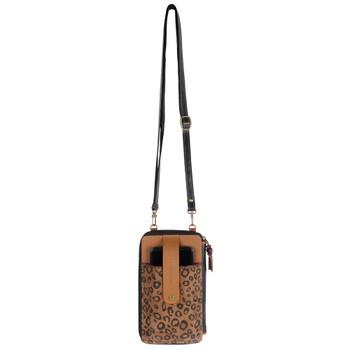 Cheetah Print Cellphone Crossbody Wallet crossbody view