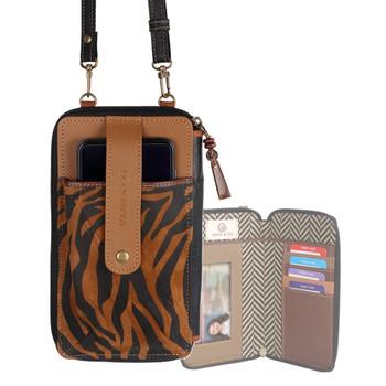 Tiger Print Crossbody Cellphone Wallet