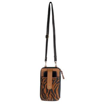 Tiger Print Crossbody Cellphone Wallet strap view