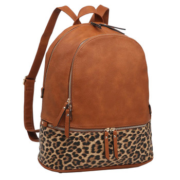 Leopard Print Two Tone Backpack Purse front view