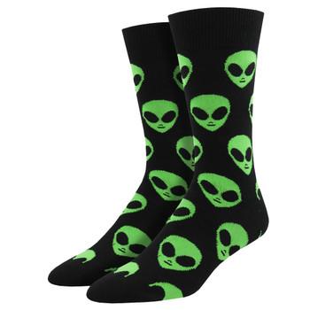 Alien Heads We Come In Peace Men's Crew Socks