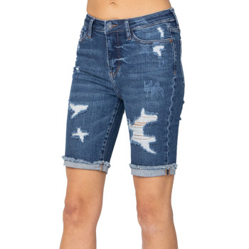 Judy Blue Destroyed Bermuda Shorts front view