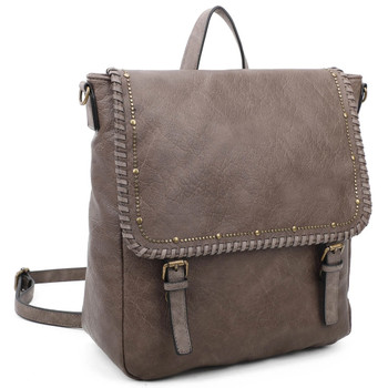 Vegan Leather Taupe Backpack Purse front view