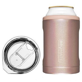 BruMate Hopsulator Duo 2-In-1 Can Cooler Tumbler Glitter Rose Gold