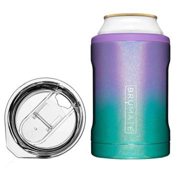 BruMate Hopsulator Duo 2-In-1 Can Cooler Tumbler Glitter Mermaid