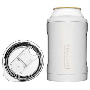 BruMate Hopsulator Duo 2-In-1 Can Cooler Tumbler Glitter White