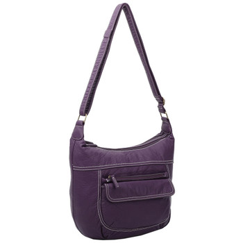 Vegan Leather Purple Crossbody Purse front view