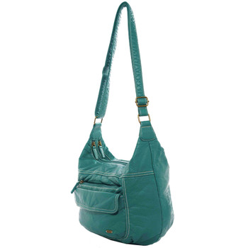 Vegan Leather Teal Crossbody Purse side view