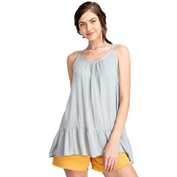 Washed Blue Semi Sheer Cami Tunic