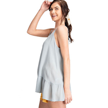 Washed Blue Semi Sheer Cami Tunic side view