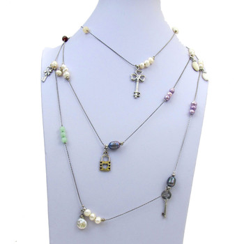 Lizou long necklace with key charms.