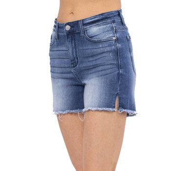 Judy Blue Mid Rise Side Slit Cut Off Shorts front view