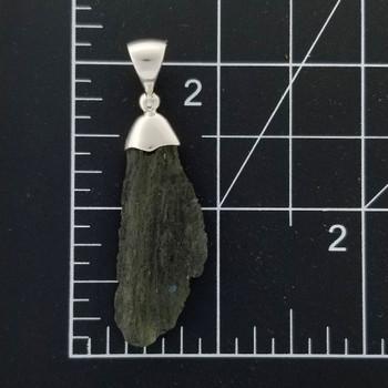 Size of sterling silver Moldavite pendant.